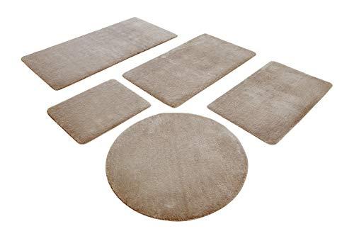 WECONhome Basics Badteppich, Badematte, kuscheliger Flauschiger weicher Flor, rutschfest und waschbar, Joris (90 cm rund, Sand beige)