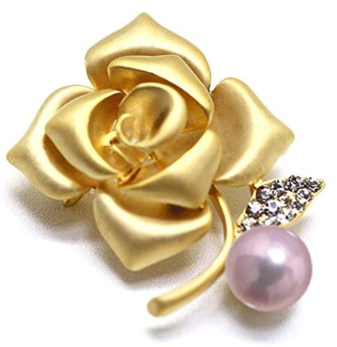 『つやたま【最高級】大粒11-12mm 本真珠 薔薇 パール ブローチ ピンクパープルカラー』の1枚目の画像