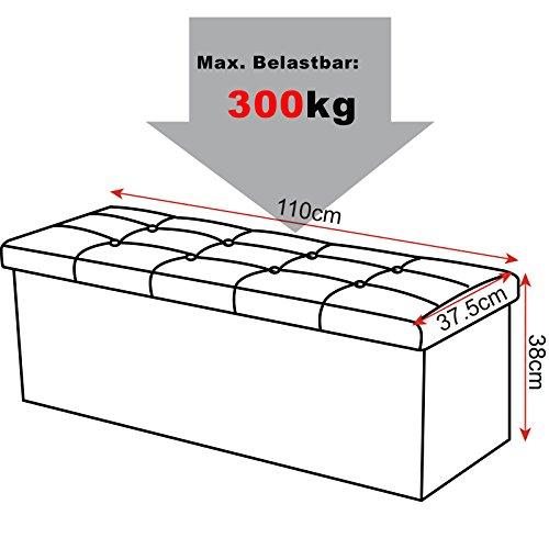 WOLTU Sitzhocker mit Stauraum Sitzbank Faltbar Truhen Aufbewahrungsbox, Deckel Abnehmbar, Gepolsterte Sitzfläche aus Leinen, 110x37,5x38 cm, Dunkelgrau, SH11dgr-1 - 2