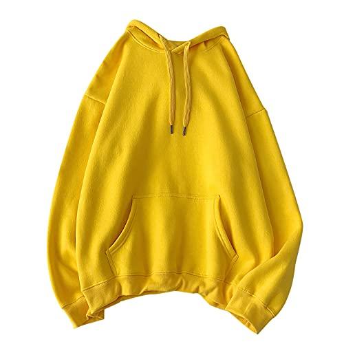 Sudaderas con capucha unisex para hombre y mujer, con capucha, para hombre, casual, con capucha, con capucha, suave, con bolsillos, abrigo, amarillo, XXXXXL
