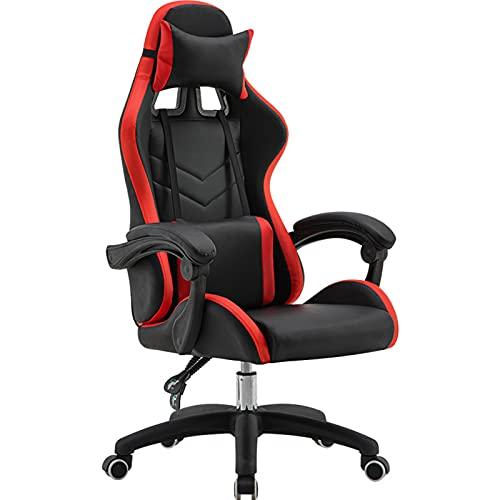 Silla de juegos, ergonómica para ordenador, respaldo alto, silla de oficina, silla de escritorio con apoyabrazos reposacabezas y soporte lumbar para PC, para adultos, adolescentes, color rojo