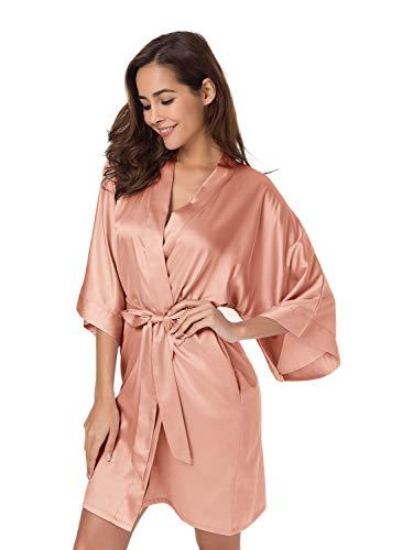 SIORO - Albornoz de satén para mujer, sedoso kimono para novias, damas de honor, bodas, fiestas, salones cortos XS-XXL - Rosa - XL