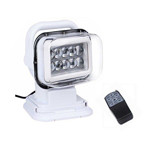 50W Recherche Lumière 12 V / 24 V 360º Rotation Télécommande Travail LED Spot De Lumière Pour SUV Bateau Sécurité À La Maison Ferme Champ Protection D'urgence Éclairage Jardin Etc (Blanc) 1 Pcs,12V