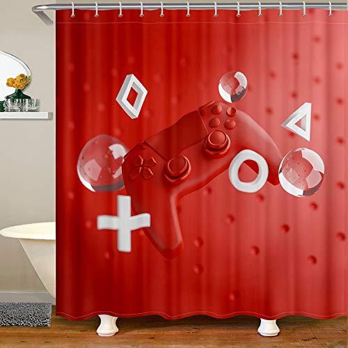 Juego de cortina de ducha para niños Gamepad, cortina de ducha para niños y niñas, juego de videojuego de acción, cortina de baño, controlador moderno, impermeable, 180 x 180 cm