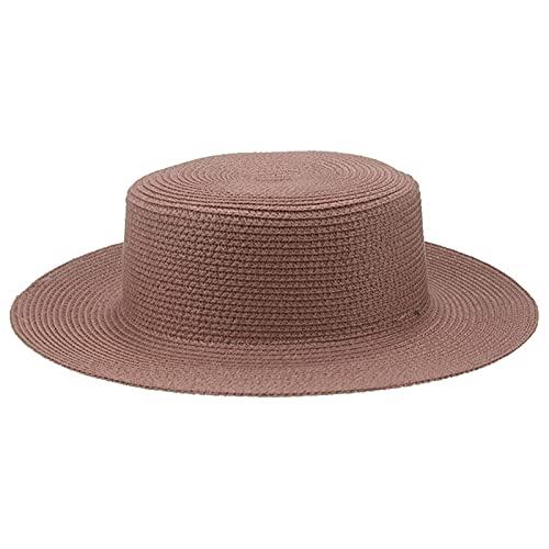 Tengyuntong Sombreros de sol mujeres hombres gorras plana superior ala ancha sombrero de paja verano playa casual blanco negro cubo mujeres sombrero 2021 nuevo gorras para mujer, Pasta de frijoles, M
