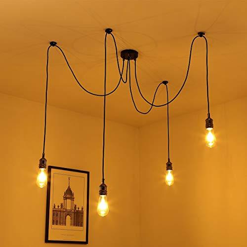 Elfeland luce del pendente Vintage, luce di soffitto Ragno appeso Lampadari Retro industriale della vite E27 Base Fitting Kit 4 della stoffa filo for Living-Room Restaurant Coffee-Shop (senza lampadin