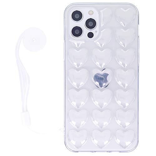 DMaos Schutzhülle für iPhone 12 Mini 13,7 cm (5,4 Zoll) 2020 (3D-Blasen-Herz), mit Trageband, niedliches Mädchen