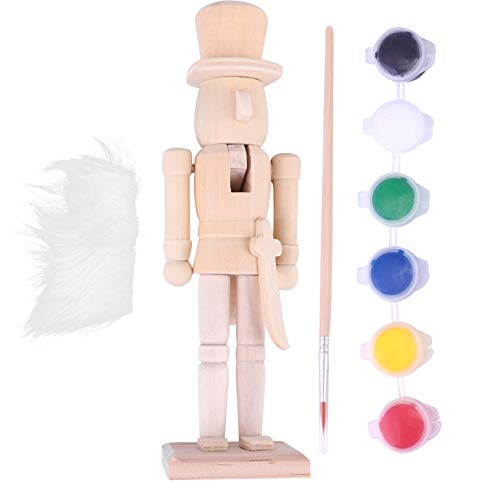 EXCEART Wooden Nutcracker Figures Wooden Unpainted Doll DIY Blank Paint Toy Christmas Nutcracker Soldier for Kids Gift DIY Craft Christmas Decoration (with Paint Brush)