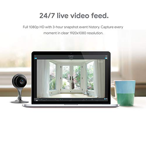 Google Nest Cam Indoor Wired Home Security Camera 24/7 live video, 1080p HD, Wifi, Night Vision, 2-Way Talk, Mobile Intelligent Alerts, 3-hour event snapshot, works with Google Assistant & Alexa
