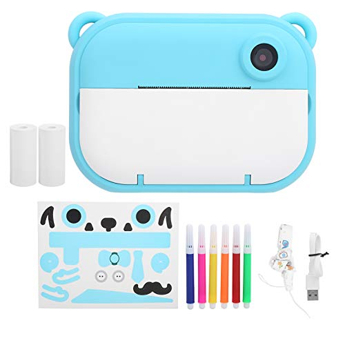 BOLORAMO Cámara de impresión instantánea para niños, cámara de impresión Digital de Video de Tinta Cero Mini cámara portátil con WiFi DIY para niños Mayores de 3 años para niños niñas Azul(Azul)