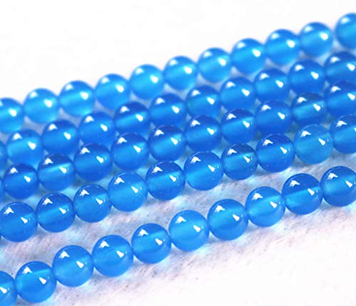 Lot de 32 perles d'agate bleue de 4 mm, 6 mm, 8 mm, 10 mm, 12 mm