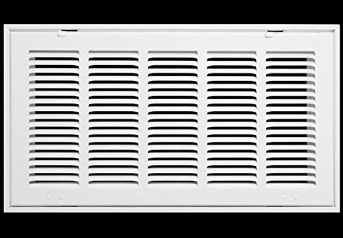 20' X 10 Steel Return Air Filter Grille for 1' Filter - Fixed Hinged - Ceiling Recommended - HVAC Duct Cover - Flat Stamped Face - White [Outer Dimensions: 22.5 X 12.5]