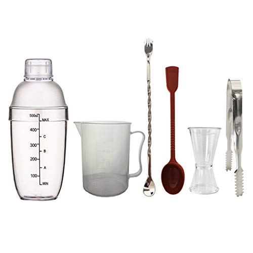 MagiDeal Juego de Cócteles Shaker Mix PC Clear Drinks Ice Tong Martini...
