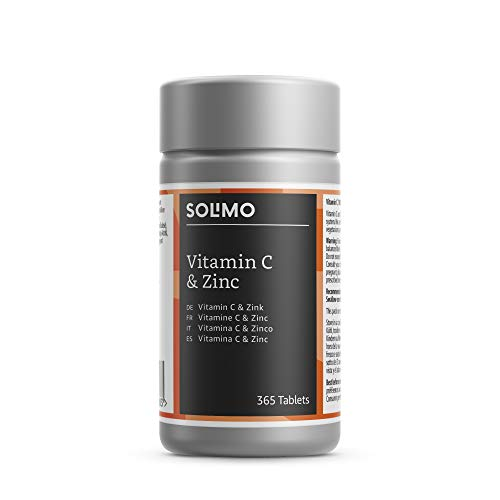 Amazon-Marke: Solimo Nahrungsergänzungsmittel mit Vitamin C 100 mg und Zink 15 mg, 365 Tabletten