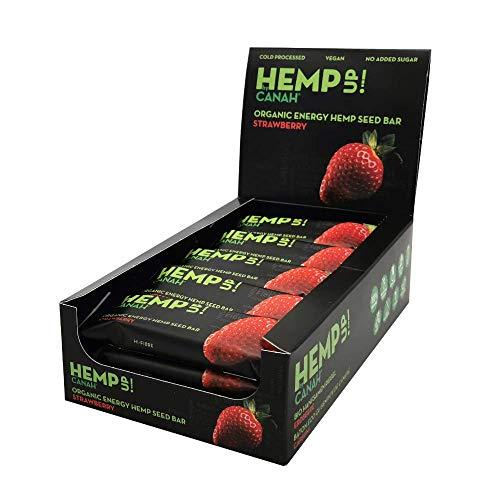 Hemp Up by Canah Erdbeere Bio Energie Hanfriegel - Getrocknete Früchte Milch- freien Hanf Proteinriegel - vegane Snacks zur Stärkung - Gesundes Lifestyle Packung von 15x48 Gramm