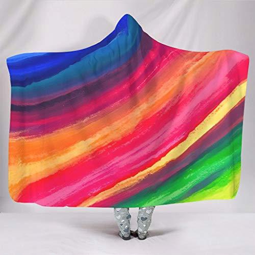 Fineiwillgo Corbata de colores multicolor arcoíris con capucha, manta supersuave Cosy, manta con capucha para hombres y mujeres, manta para sofá chaise longue blanca, 130 x 150 cm
