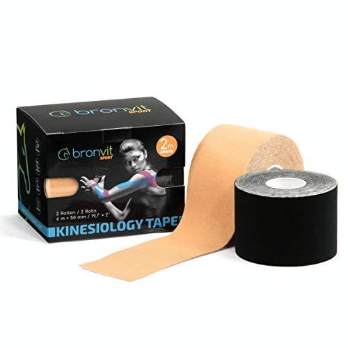 BronVit Kinesio Tape 6m (2 Rollen) | Therapeutisches Physio Tape, Wasserfest, Elastisch, Hypoallergen | Sport Klebeband und Muskel Bandage| Fitness Zubehör, Pflaster Set 2 x 6m x 5cm (Beige + Schwarz)