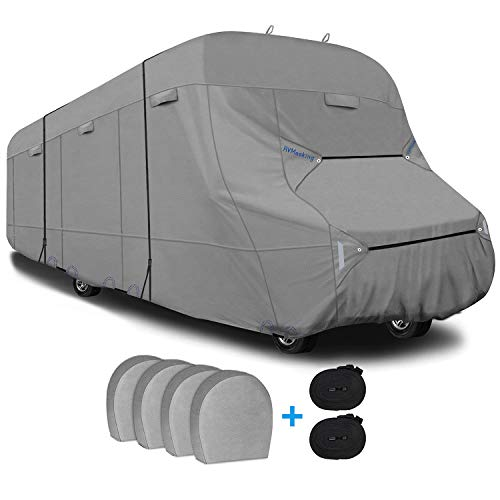 RVMasking Heavy Duty 6 Layers Top Class C RV Cover for 29' - 32' Camper Trailer with 4 Tire Covers, 2 Windproof Straps