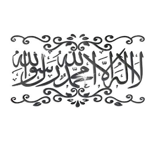 Camisin Islamische Wand Aufkleber Dekorative Wand Malerei Muslim 3D Acryl Spiegel Aufkleber Schlaf Zimmer Wohnen Zimmer Wand Dekoration Schwarz