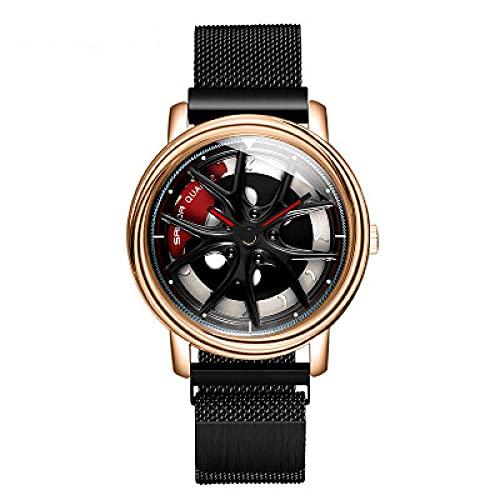 Relojes Mujer,Ver la Tendencia Masculina Simple Personal Fresco Femenino Estudiantes Handsome Stone-Oro Rosa Negro