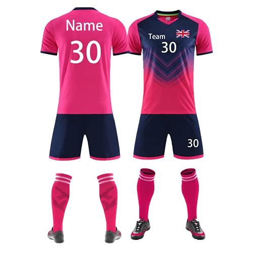 Kit de fútbol personalizado para niños y adultos, camiseta de fútbol corta para hombres y mujeres con el logotipo del equipo de número de nombre, rosa, 42