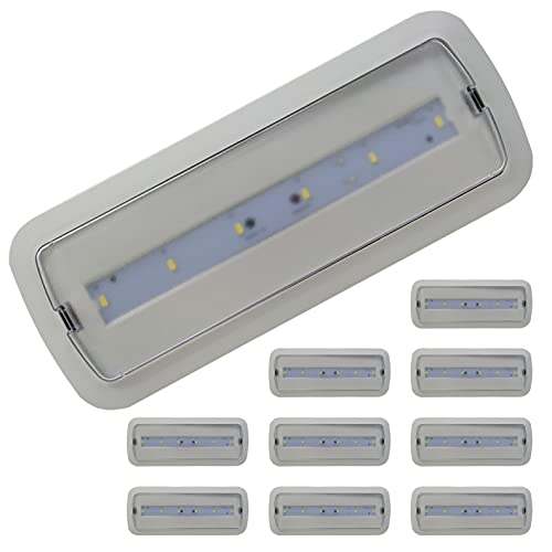 Pack 10x Luz de Emergencia LED empotrable o superficie 3W, 200 Lumenes. 3 Horas de Autonomía. Color Blanco Frío (6500K).