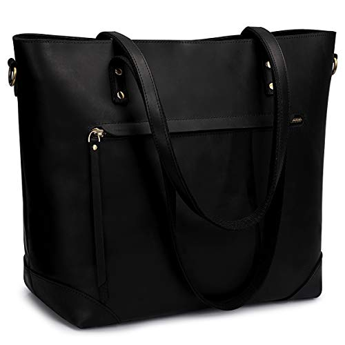 s zone shoulder bags S-ZONE Vintage Genuine Leather Shoulder Bag Work Totes for Women Purse Handbag with Back Zipper Pocket Large