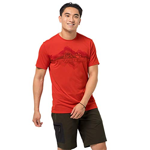 Jack Wolfskin Herren Crosstrail Graphic T-Shirt, Lava red, S