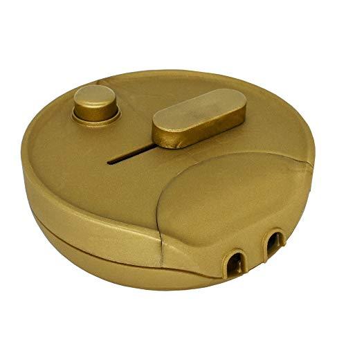 Fußdimmer 60-300W Gold Rund Universal-Dimmer Schnur-Zwischendimmer für Glühlampen, Halogen und LED mit Schieberegler u. Druckschalter 230V Mod. 1012G