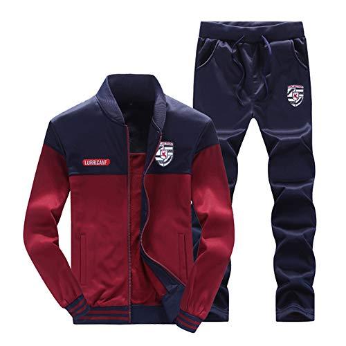 Hombre Chándal 2 Piezas Conjuntos Deportivos Pantalones + Chaquetas Sweatshirt Rojo S