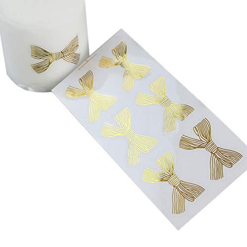 60 Stück/Los Niedlicher Goldener großer Bogen Gold 4,5 * 3CM handgemachter Selbstklebender Kuchen süße Süßigkeit Verpackung Siegeletikett Aufkleber Geschenkpapier
