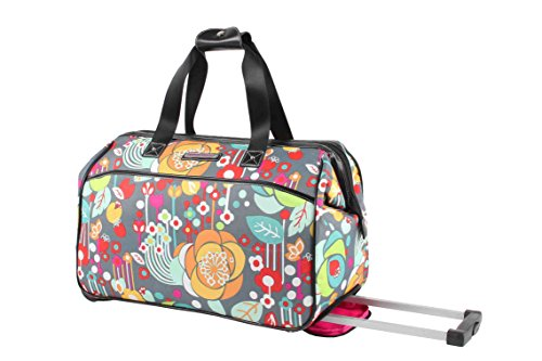 Lily Bloom Luggage Designer Pattern Suitcase Wheeled Duffel Carry On Bag (22in, Bliss)