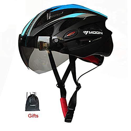 Heemtle Integral geformt Radhelm für Racing Ultraleicht Fahrradhelm für Männer und Frauen Fahrradhelm mit Magnetbrille (schwarz + blau M:55-58cm)