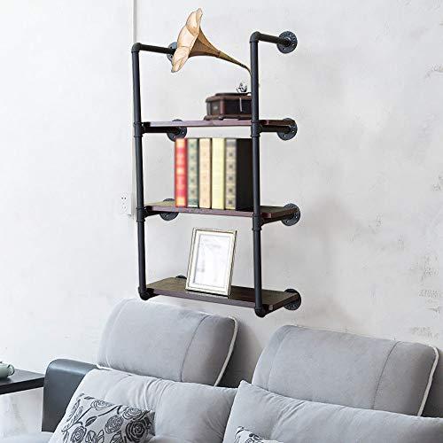 Estantería de pared vintage decorativa estantería de pared estante de hierro estante de pared para salón, dormitorio, cocina, cuarto de baño 3 niveles