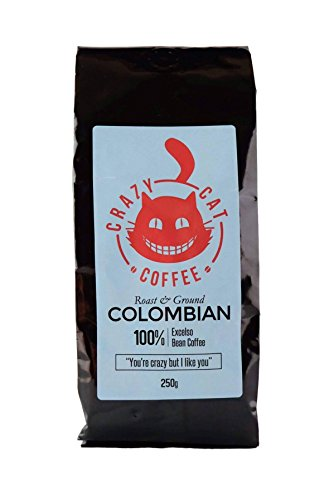 Crazy Cat Colombian Ground Coffee, Non Bitter, Medium Strength 3, Arabica Coffee, Full Fresh Flavour, Roasted and Ground to Perfection 250g