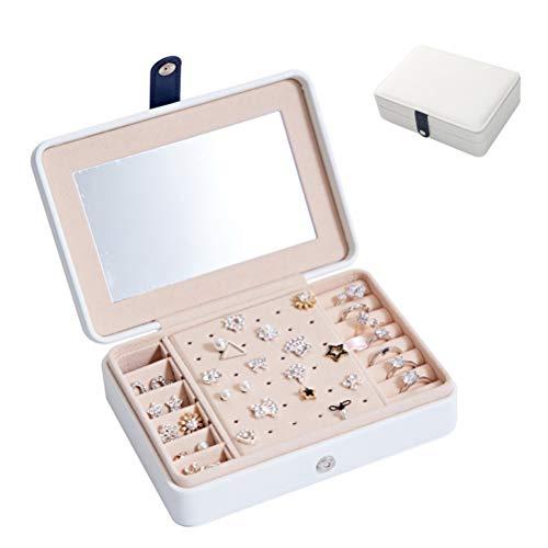HKHJ Caja de Joyería Organizador de Almacenamiento Mujer Portátil Estuche de Viaje con Espejo Caja Joyero para Anillos, Aros, Pendientes, Pulseras y Collares Jewelry Organizer,Blanco