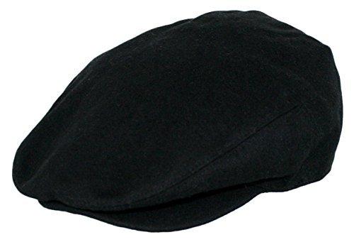 Men's Premium Wool Blend Classic Flat Ivy Newsboy Collection Hat , 1581-Black, Large
