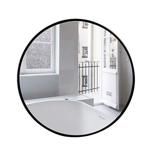 Cinco tamaños Espejo montado en la Pared Colgante Redondo Negro Moderno Simple Decorativo Pasillo Espejo de Alta definición para Afeitar para la vanidad, Dormitorio o baño