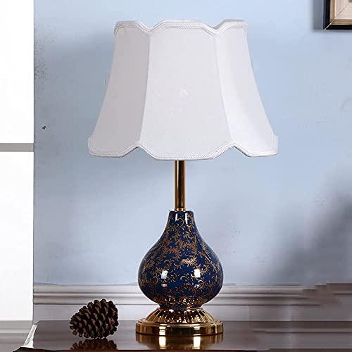 FYRMMD Lámpara de cabecera de cerámica de Lujo, lámpara de Mesa de decoración Moderna Europea Americana, luz Dorada, Horno Artesanal, Escritorio, La (lámpara de cabecera)