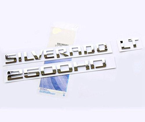 yoaoo OEM cromo Silverado 2500HD LT emblema placa carta aleación de Insignia original Silverado 2500HD Chevrolet brillante