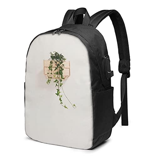 BYTKMFD Mochila de viaje con patrón verde hermoso, mochila escolar antirrobo, para hombre y mujer con puerto de carga USB de 17 pulgadas, Negro, Talla única