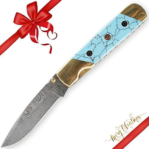Hobby Hut HH-F01, Damast Taschenmesser Klappmesser Damaststahl Messer Outdoor Damastmesser Pocket Folder Knife,Damaskus Jagdmesser, Türkis & Messinggriff