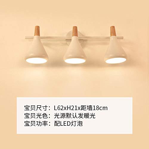 NZJSY Creativo Nordic IKEA espejo faro baño espejo gabinete lámpara de pared simple moderno tocador lámpara de maquillaje baño espejo lámpara -27020-3 (enviar bombilla G10)