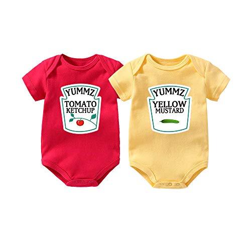 """Culbutomind Tutina per neonati con scritta """"Yummz Pomodoro Ketchup"""", mostarda, rosso, giallo, completo bimbi e bimbe, vestiti, per gemelli Rosso 1 6 mesi"""