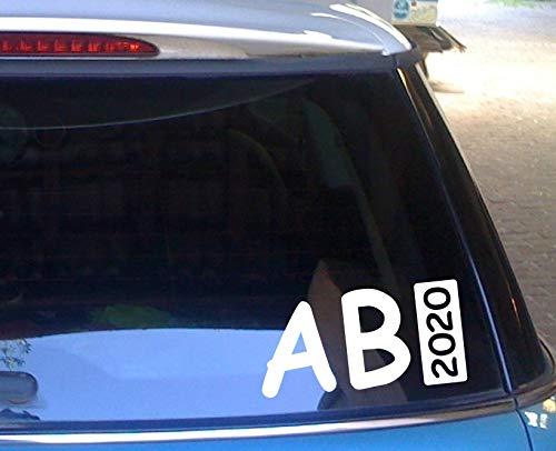 cartattoo4you® AB-02251 | ABI 2020 - Balken | K-Serie | 20 x 10 cm | Farbe weiß glänzend|in 23 Farben erhältlich Autoaufkleber Aufkleber Car Sticker Heckscheibe Abitur Spruch,Versand frei