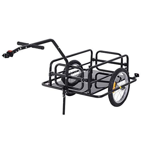 HOMCOM Remorque vélo remorque de Transport pour vélo 156L x 72l x 82H cm Barre d'attelage Universelle Pliable Acier Noir