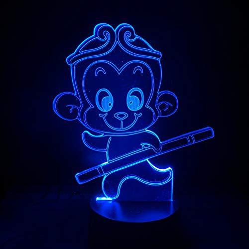 Led-nachtlampje 3D-vision-zeven kleuren afstandsbediening decoratief aap nachtlampje cartoon licht glazen kinderen cadeau kinderkamer nachtlampje kleurverandering lichtprojector