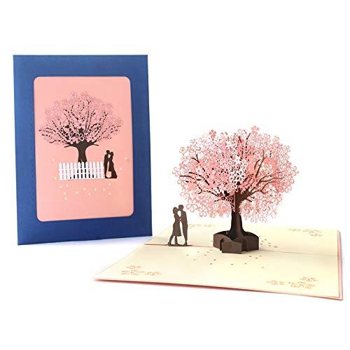 3D Wunschkarte, ideal f. Valentinstag, Hochzeit, Jubiläum 15 x 20 cm, Popup Romantik, Kuss unter Kirschblütenbaum, mit Kuvert (1)