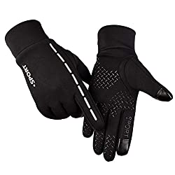 Litake Touch Screen Cycling Gloves Unisex Luminous Outdoor Warm Velvet Waterproof Windproof Gloves