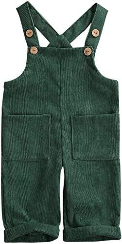 MoccyBabeLee Kids Baby Girl Boy Latzhose Overalls Ärmellose verstellbare einfarbige Jumpsuit-Hose Winterhose Kleidung (Green,1-2 Jahre)